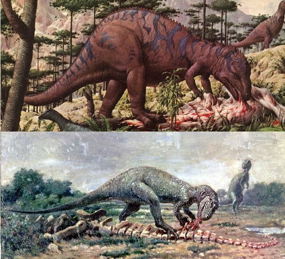 Allosaurus on carcass fauna casts dinosaur toy blog for Age of reptiles mural